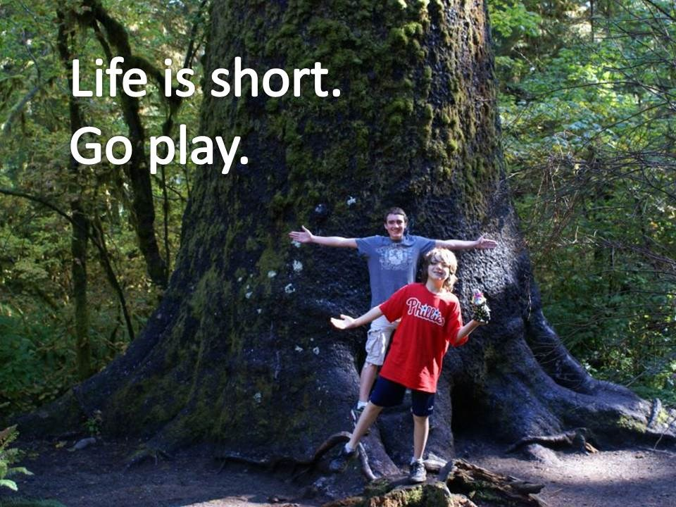 Life is short.  Go play boys by big tree
